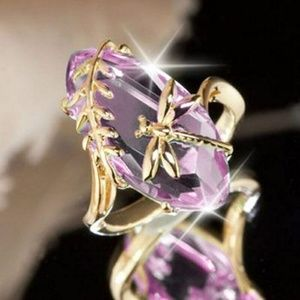 PINK Dragonfly Ring Size 10 Gold Filled New
